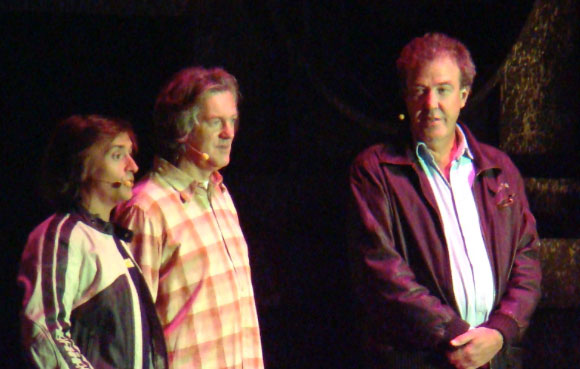 "The ""Top Gear"" crew: Richard Hammond, James May, and Jeremy Clarkson. From Phil Guest, Wikimedia Commons. http://commons.wikimedia.org/wiki/File:Top_Gear_team_Richard_Hammond,_James_May_and_Jeremy_Clarkson_31_October_2008.jpg"