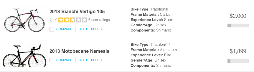 Bikes Comparison bike comparison tool site